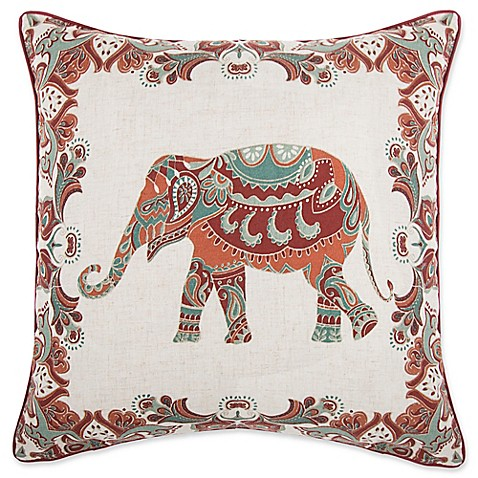 Make Your Own Decorative Pillow Covers : Make-Your-Own-Pillow Anusha Elephant Square Throw Pillow Cover in Red - Bed Bath & Beyond