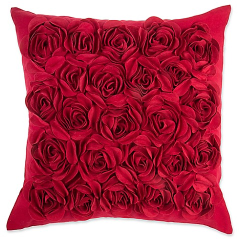make your own pillow rosey square throw pillow cover in red bed bath beyond. Black Bedroom Furniture Sets. Home Design Ideas