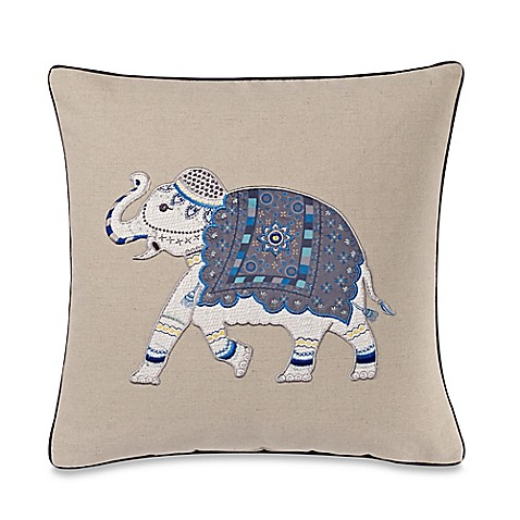 make your own pillow molina elephant square throw pillow cover in blue bed bath beyond. Black Bedroom Furniture Sets. Home Design Ideas