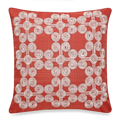 Make Your Own Decorative Pillow Covers : Make-Your-Own-Pillow Mindy Embroidered Square Throw Pillow Cover in Coral - Bed Bath & Beyond