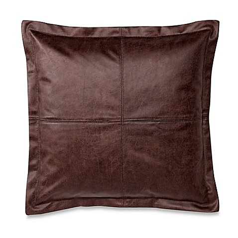 make your own pillow dimaggio faux leather square throw pillow cover in brown bed bath beyond. Black Bedroom Furniture Sets. Home Design Ideas