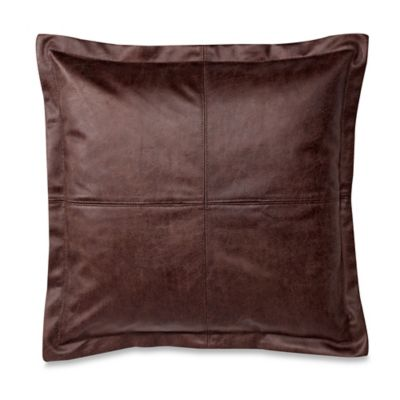 Decorative Pillow Makers : Make-Your-Own-Pillow DiMaggio Faux-Leather Square Throw Pillow Cover in Brown - Bed Bath & Beyond