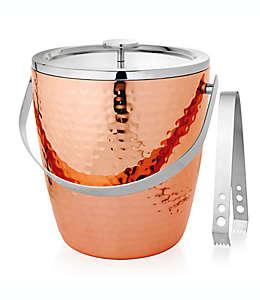 Cubeta para hielos con pinzas martillada en cobre
