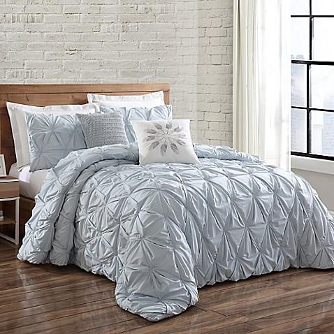 Buy brooklyn loom jackson pleated twin duvet set in spa for Brooklyn loom bedding