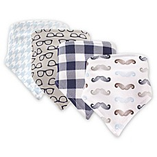 image of Hudson Baby 4-Pack Mustache Bandana Bib Set in Blue