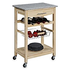 Image Of Granite Rolling Kitchen Cart In Natural