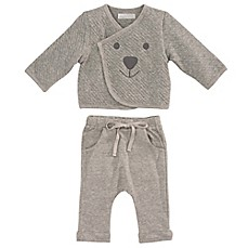 image of Elegant Baby® 2-Piece Organic Cotton Jacket and Pant Set in Grey