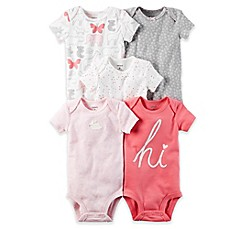 image of carter's® 5-Pack Bunny Print Bodysuit in Pink