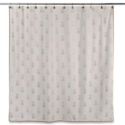Sam Hedaya Golden Pineapple Shower Curtain ...