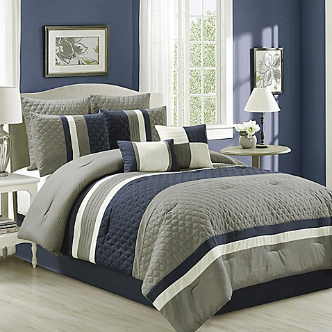 Patchwork 8 Piece Comforter Set In Navy Grey Bed Bath