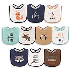 image of Hudson Baby® 10-Pack Raccoon Drooler Bibs in Brown