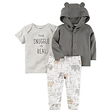 image of carter's® 3-Piece Babysoft Little Jacket, Shirt, and Pant Set in Grey