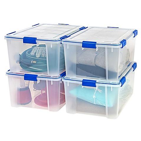 Ziplocu0026reg; WeatherShield 60 qt. Storage Boxes in Clear (Set ...  sc 1 st  Bed Bath u0026 Beyond & Ziploc® WeatherShield 60 qt. Storage Boxes in Clear (Set of 4) - Bed ...