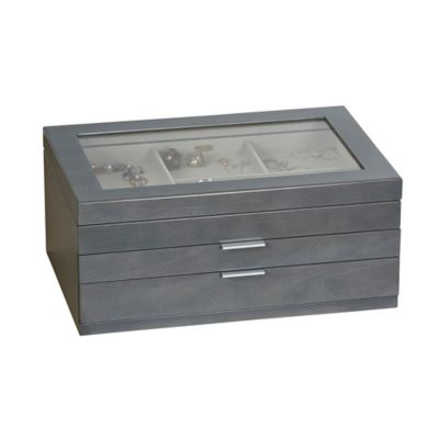 Mele Co Misty Glass Top Wooden Jewelry Box in Grey Bed Bath