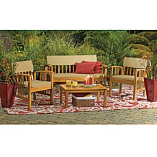 Image Of 4 Piece Westerly Acacia Wood Deep Seating Chat Set