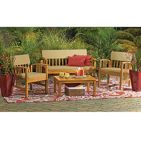 4 Piece Westerly Acacia Wood Deep Seating Chat Set