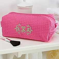 image of Embroidered Pink Makeup Bag