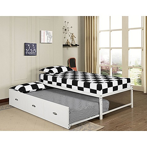 K b furniture b59 124 twin daybed with trundle in white for Furniture 124