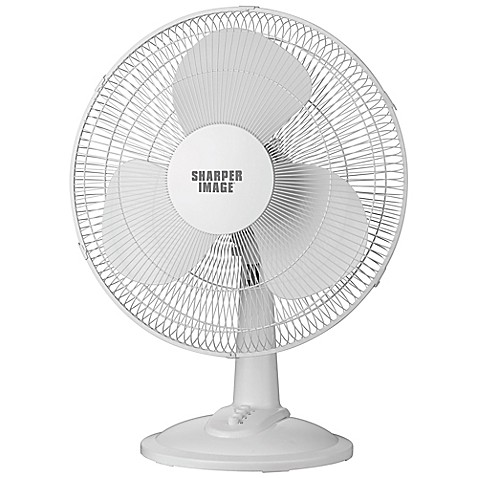 Sharper Image 174 12 Inch Tabletop Fan In White Bed Bath
