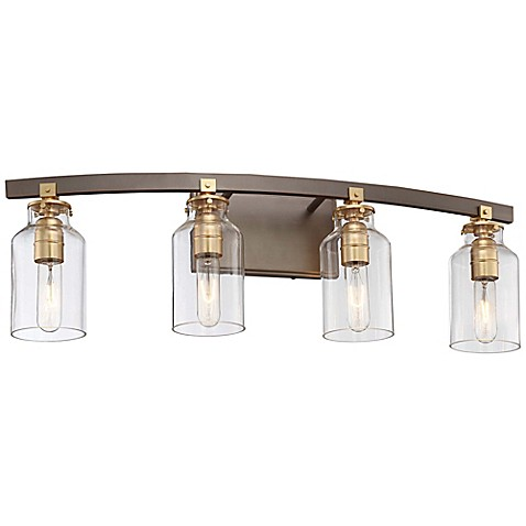 Buy minka lavery morrow 4 light wall mount bath fixture in harvard court bronze with glass for Minka bathroom light fixtures