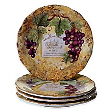 image of Certified International Gilded Wine Dinner Plates (Set of 4)