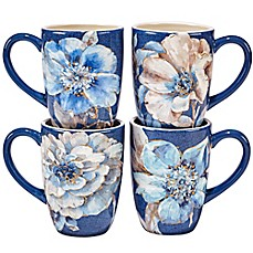 image of Certified International Indigold Flower Mugs (Set of 4)