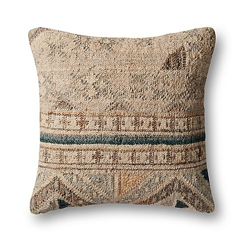 Magnolia home by joanna gaines taylor square throw pillow in beige blue bed bath beyond - Magnolia bedding joanna gaines ...