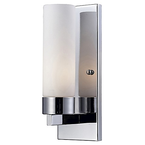 Ivana 1 light sconce in chrome with matte opal glass shade for Chrome bathroom sconce with shade