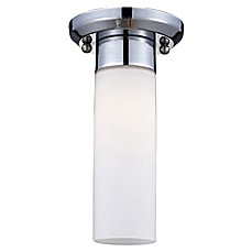 image of Ivana 1-Light Flush-Mount Ceiling Light in Chrome with Matte Opal Glass Shade