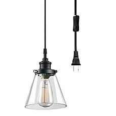 Plug in pendant light bed bath beyond globe electric company skylar 1 light plug in pendant in matte black aloadofball Image collections