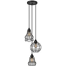 image of globe electric 3light cage cluster pendant in oil rubbed bronze