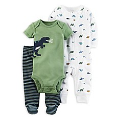image of carter's® 3-Piece Babysoft Dino Footed Pant Set in Green