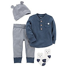 image of carter's® 4-Piece Babysoft Thermal Shirt, Pant, Hat, and Socks Set in Navy