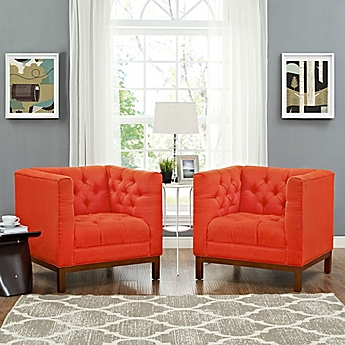orange living room chair. image of Modway Panache Living Room Chairs  Set 2 Accent Arm for Armless