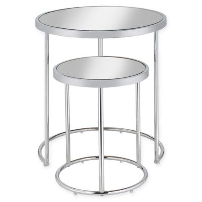 image of Donny Osmond Home 2-Piece Mirror Top Nesting Table with Chrome Finish