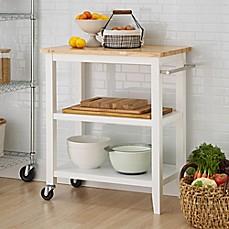 Amazing Image Of Trinity Wood Kitchen Cart In White