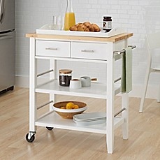image of Trinity Wood Kitchen Cart with Drawers and Tray in White