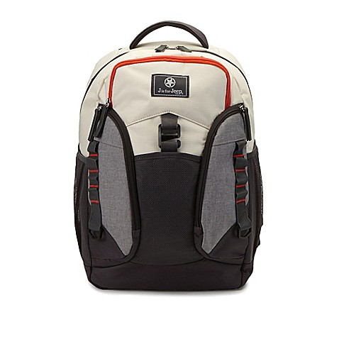 buy j is for jeep perfect pockets backpack diaper bag in grey from bed bath beyond. Black Bedroom Furniture Sets. Home Design Ideas