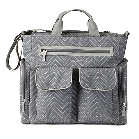 buy carter 39 s chevron tote diaper bag in grey from bed. Black Bedroom Furniture Sets. Home Design Ideas