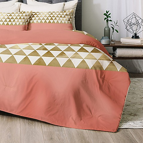 buy deny designs gold triangle twin twin xl comforter set in gold from bed bath beyond. Black Bedroom Furniture Sets. Home Design Ideas