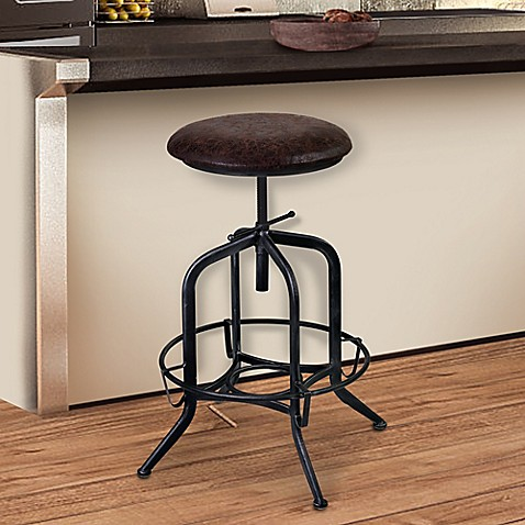 Buy Armen Living Elena Adjustable Industrial Bar Stool In