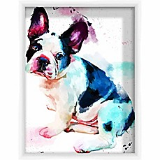 image of PTM Images Watercolor Pugsly 13.5-Inch x 17.5-Inch Framed Wall Art
