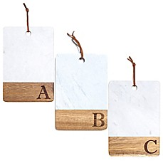 image of Artisanal Kitchen Supply® Monogram Marble and Acacia Wood Paddle Board
