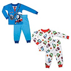 image of Thomas & Friends® 4-Piece Pajama Set in Blue/White