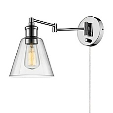 Plug in wall lights bed bath beyond globe electric leclair 1 light wall sconce in chrome aloadofball Gallery