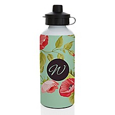 image of Floral 20 oz. Aluminum Water Bottle in Silver