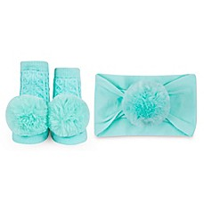 image of Waddle Size 0-12M 2-Piece Baby Bling Headband and Rattle Sock Gift Set in Aqua