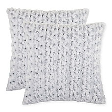 image of rosette faux fur square throw pillow in grey set of 2