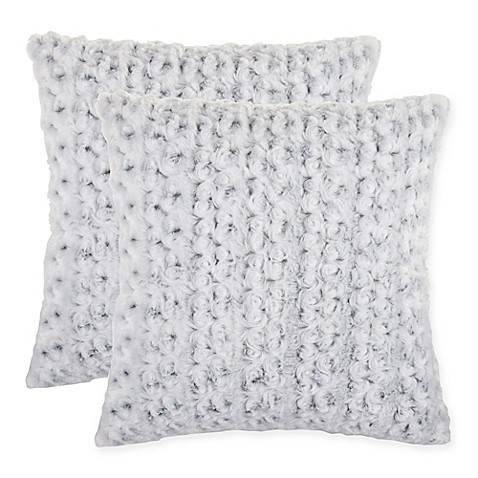 Buy Rosette Faux Fur Square Throw Pillow in Grey (Set of 2) from Bed Bath & Beyond