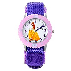 image of Disney® Belle Children's 32mm Time Teacher Watch in Stainless Steel with Purple Nylon Strap